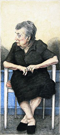 Arne Bendik Sjur. Old Woman Seated, Head in Profile, Hand Colored, 2005. Drypoint, hand color. 1/1. 4-1/2 x 2 inches.