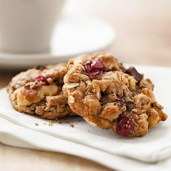 A bit of flaxseed stirred into the flour adds fiber to these hearty cookies, while bits of dark chocolate, dried cranberries, and chopped nuts provide a mix of melty, chewy, and crunchy textures./