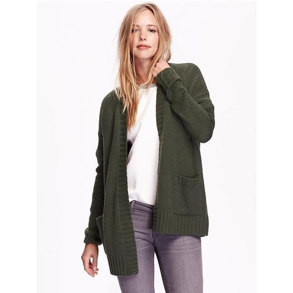 Old Navy Open Front Cocoon Cardigan ($55) ❤ liked on Polyvore featuring tops, cardigans, green, green top, open front cardigan, green cardigan, drop shoulder tops and open knit cardigan