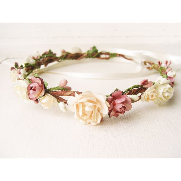 Flower crown, Rustic wedding hair accessories, Bridal headpiece,... ($68) ❤ liked on Polyvore featuring accessories, hair accessories, flower crowns, hair, pink headband, floral headband, rose crown, flower crown and headbands