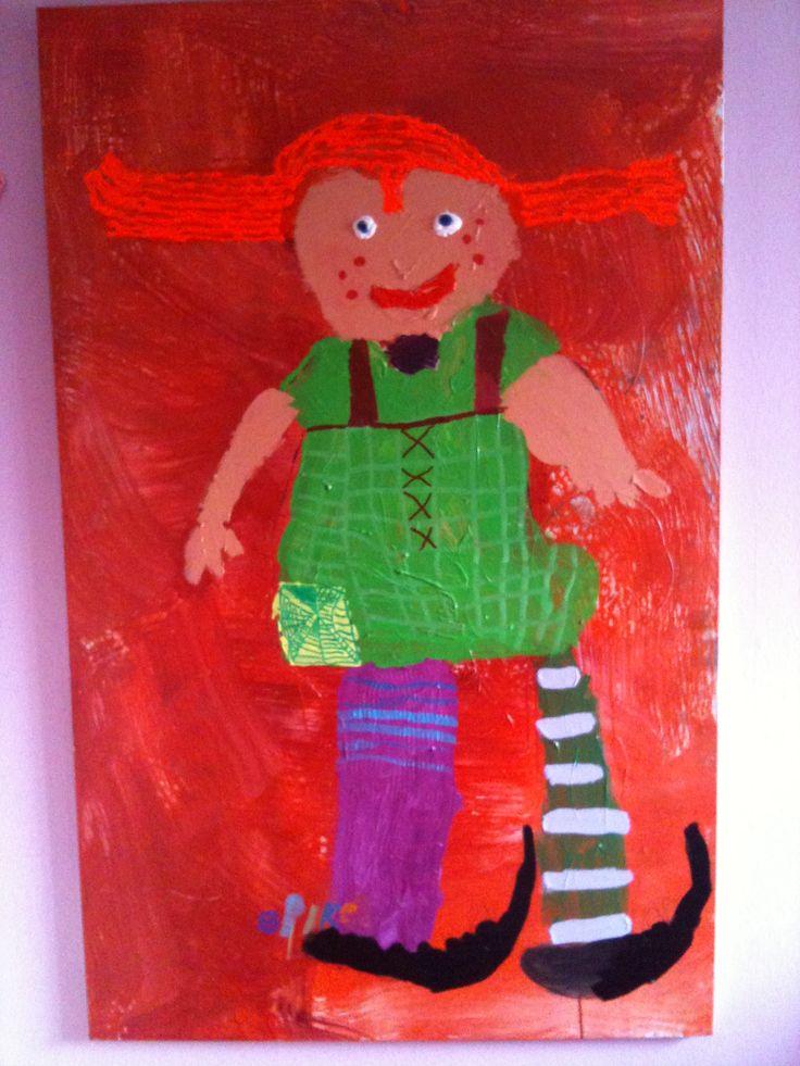 Pipi Langkous  Artist: Silke de Rapper (5 years old) Formaat160x100CM  Acrylic in canvas