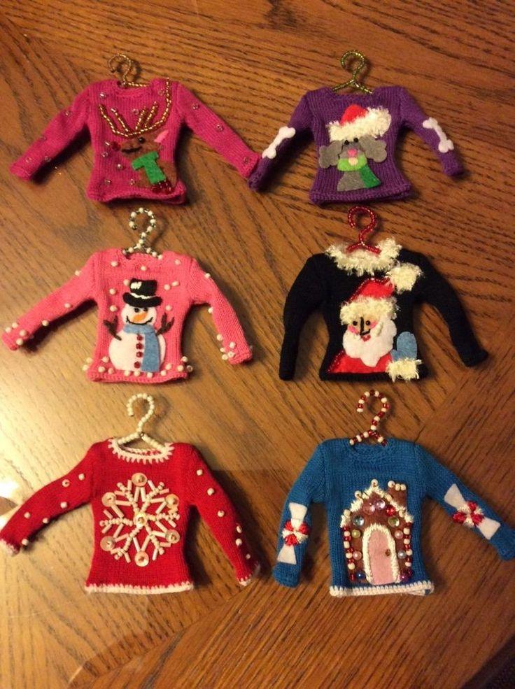Set Of (6) Six Miniature Christmas Sweater Ornaments On Beaded Hangers.