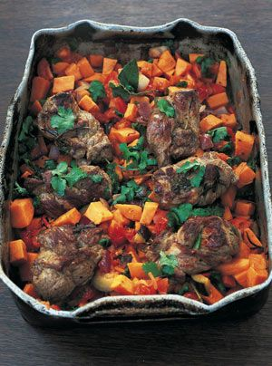 I made this dish up the other day on a kind of Moroccan vibe, when I was mucking about with ways of marinating and tenderizing a neck fillet of lamb, which is a really tasty and cheap cut of meat.
