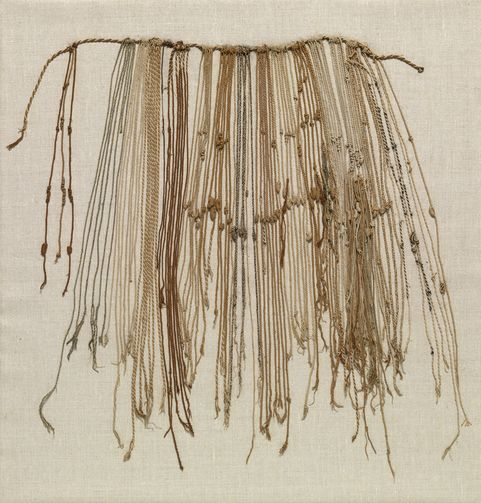 "Quipu. AD 1400 - 1532. Sometimes called ""Talking Knots"", Quipus were recording devices used by the Incan Empire."