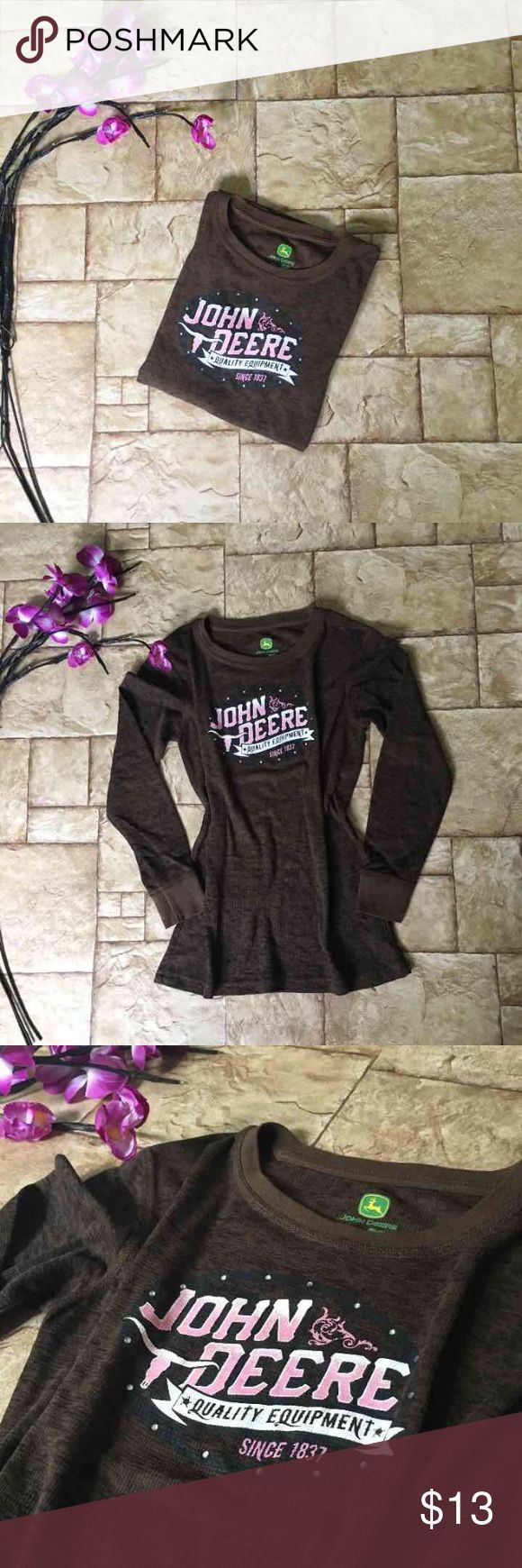 John Deere Top Worn once :) very beautiful! Bling rhinestones! Pink logo. John Deere brand! Purchased at Cabelas!  Please check out my other listings for more name brand items ❤️ John Deere Tops Tees - Long Sleeve
