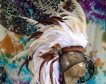 Feather Mohawk Headdress Costume Tribal Golden by MichelleCuriel