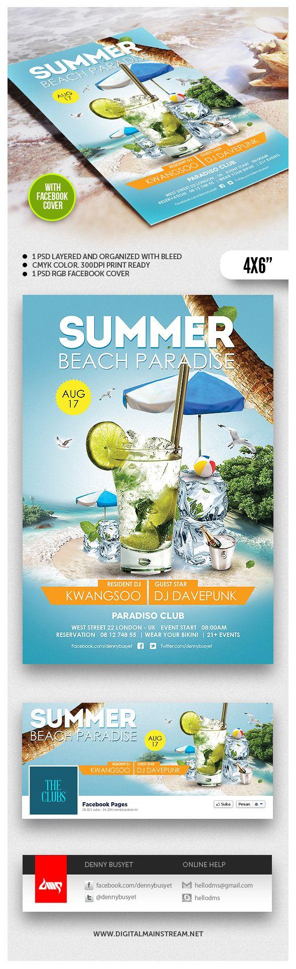 Summer Beach Paradise Flyer Template by Denny Budi Susetyo, via Behance