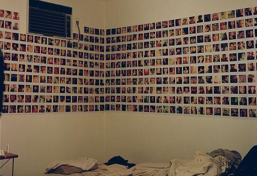 Dorm room idea: cover your walls with polaroid pics.