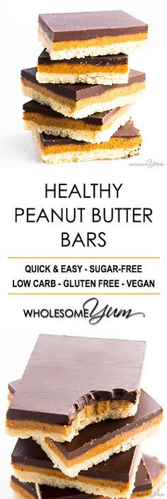 Healthy Chocolate Peanut Butter Bars Recipe - Gluten Free & Low Carb - These easy, healthy chocolate peanut butter bars are the best combination of gluten-free shortbread crust, peanut butter and chocolate. 15 minutes prep!