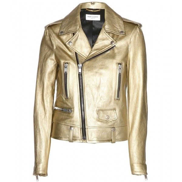 Saint Laurent Metallic Leather Biker Jacket found on Polyvore
