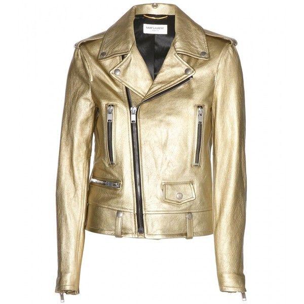 Saint Laurent Metallic Leather Biker Jacket found on Polyvore
