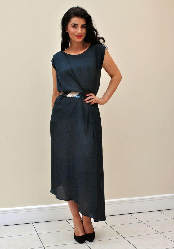 Caroline Kilkenny Scarlett Fluid Drape Asymmetric Dress, Teal