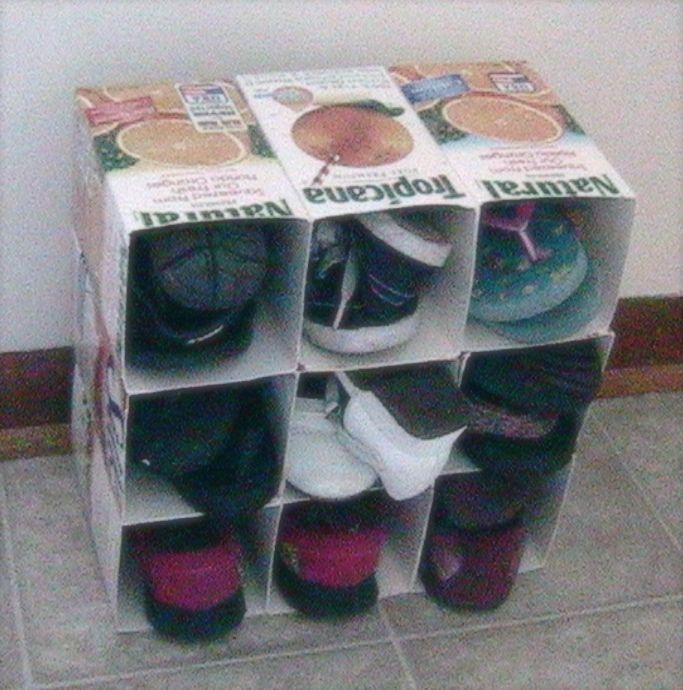 Upcycle milk carton to shoe organizer