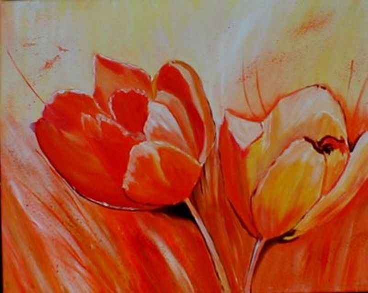 Ölbild, Ölmalerei, Ölbilder kaufen , blumen, blumenbilder, tulpen, gelb, weiß, orange,bilder, bild, malen, malerei, kunst, deko, dekoration, wandbild, abstrakt