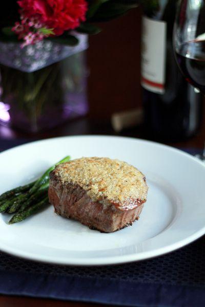 Parmesan horseradish crusted steak