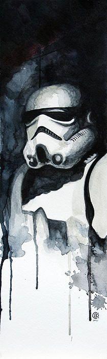 Stormtrooper Water Color Painting by David Kraig