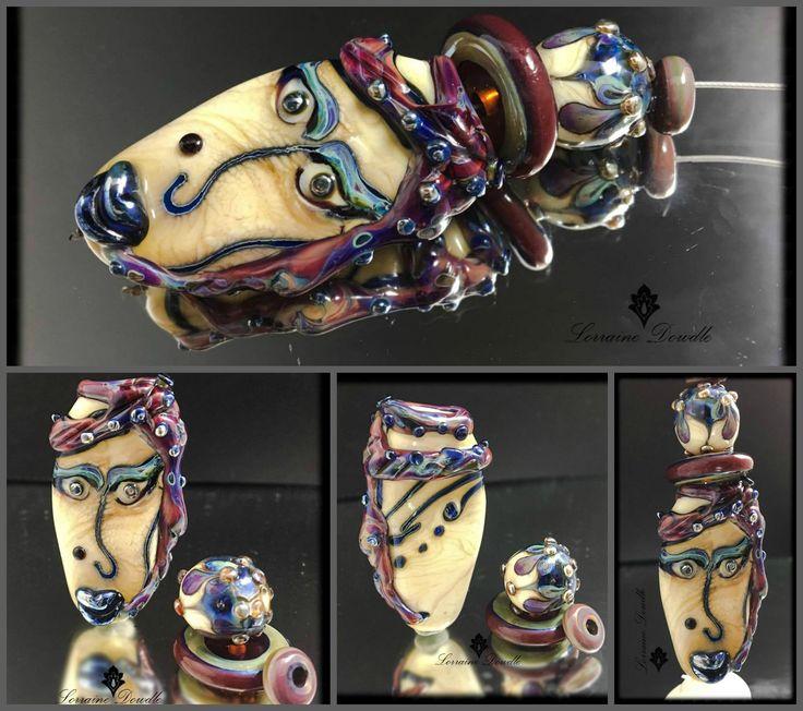 """Nuri"" - Avant Garde statement Lampwork bead set by Lorraine Dowdle"