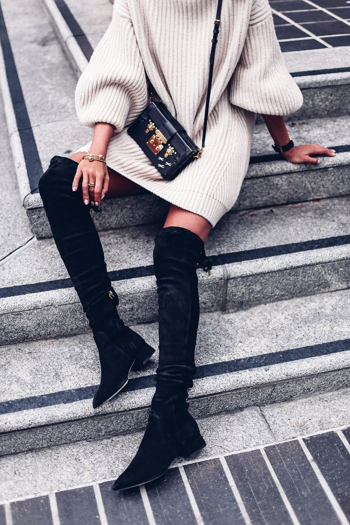 Over the knee boots + sweater dress