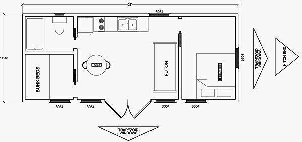 Colonial Woods cabin floor plan.