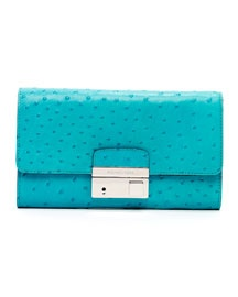 V142W Michael Kors  Gia Ostrich-Embossed Leather Clutch