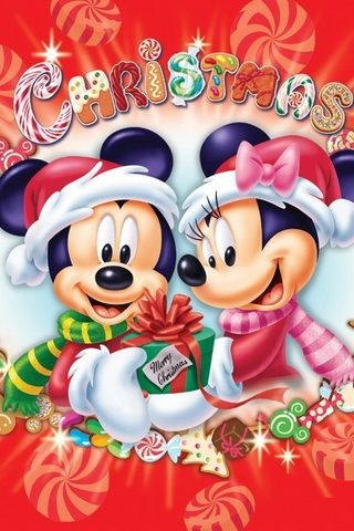 CHRISTMAS MICKEY MOUSE AND MINNIE MOUSE IPHONE WALLPAPER BACKGROUND