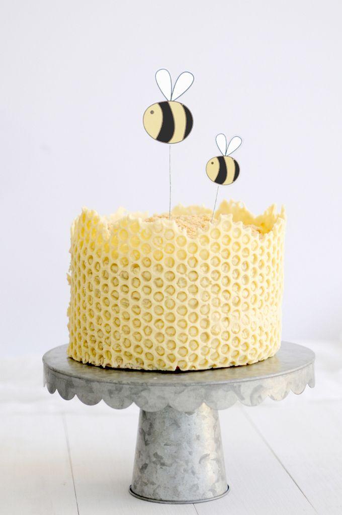 white chocolate honeycomb cake
