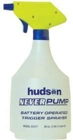 Hudson 62517 36oz Never Pump Trigger Sprayer Batt Powered (1 EA) by Hudson. $10.97. Hudson Never Pump Battery Operated Trigger Sprayer  36oz useable capacity Adjustable nozzle Battery operated