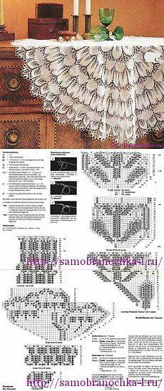 Красивая скатерть-салфетка, связанная спицами: интересная идея для шали, юбки.