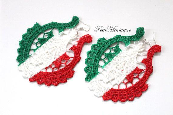 Orecchini pizzo macramè Bandiera Italiana-W di PetitMiniatures