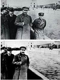 Unperson, Stalin would do this to individuals that turned there back towards him. They have been erased from society, he would have them totally removed from all records and total existence in general. As you can see Nikolai Yezhov is in the photo above, but not in the one below. The reason Stalin had Yezhov removed was because he had thought he had to much power, and had seen to much for his liking. Yezhov had accomplished what Stalin needed and was executed.