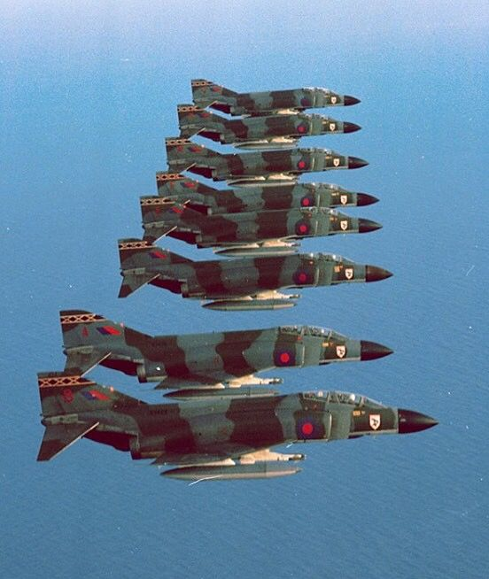 A formation of Royal Air Force F-4 Phantoms.