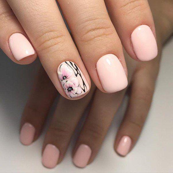 Sakura simple elegant pink nail art