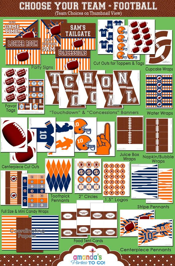 Football Party - New Football Birthday Printable Set - CHOOSE your Team and Colors - by Amanda's Parties TO GO