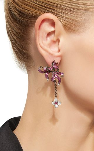 Ruby and Pink Sapphire Flower Earrings by Wendy Yue