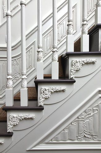 Although I do NOT like steps in my home this Gorgeous White Victorian staircase and the carved detail of the wood and possible Lyncrusta on the walls are dreamy!!! C: