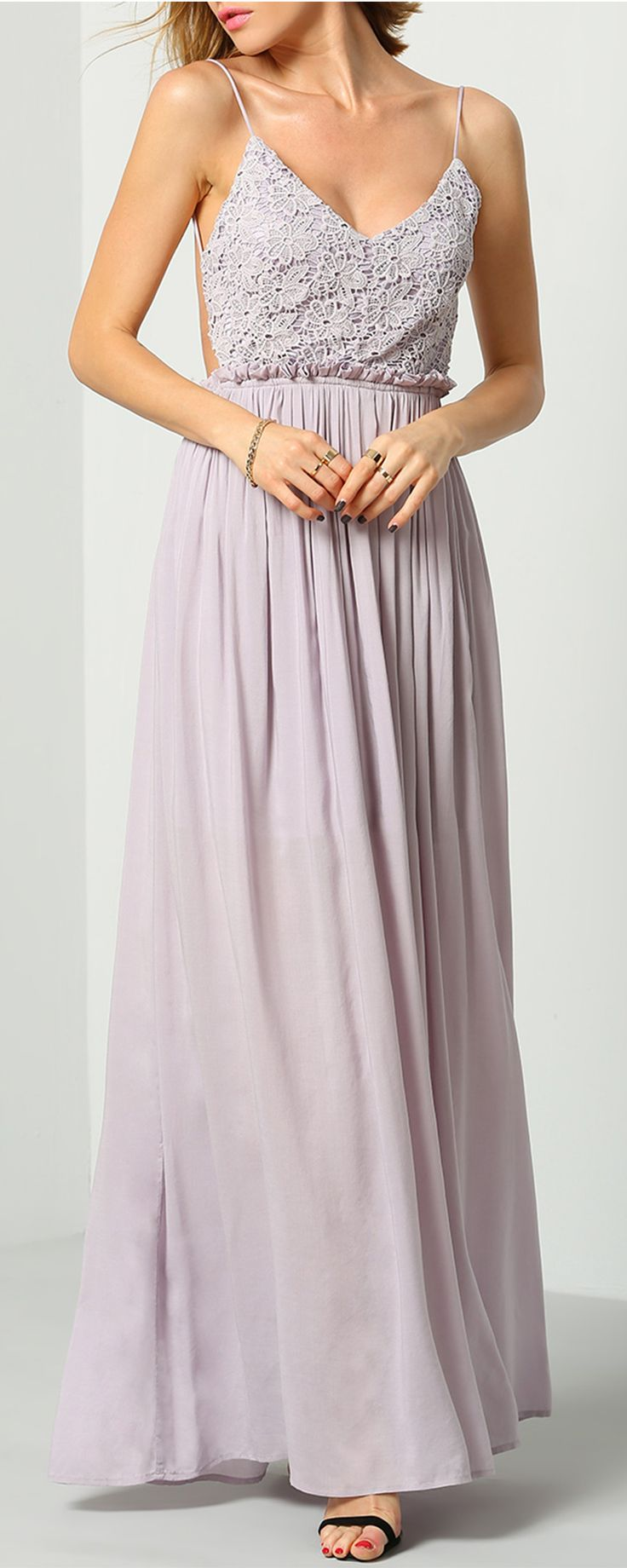 Check it out from shein.com! shein's Exclusive! As pretty as an urban wildflower, the Rooftop Garden Backless Lavender Maxi Dress lights up the skyline with lengths of light purple chiffon. A fitted, triangle-cut bodice has spaghetti straps that crisscross a sexy open back, while a maxi-length skirt flows from the banded waistline like a flower bed in bloom!