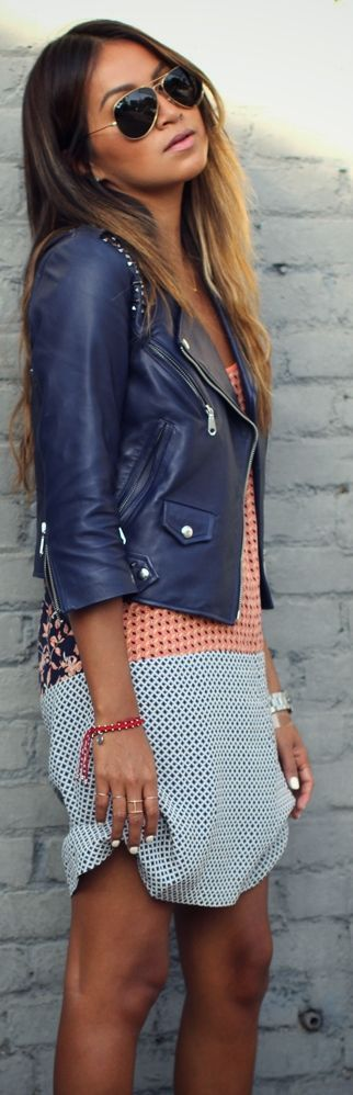 Rebecca Minkoff Blue Moto Jacket by Sincerely Jules