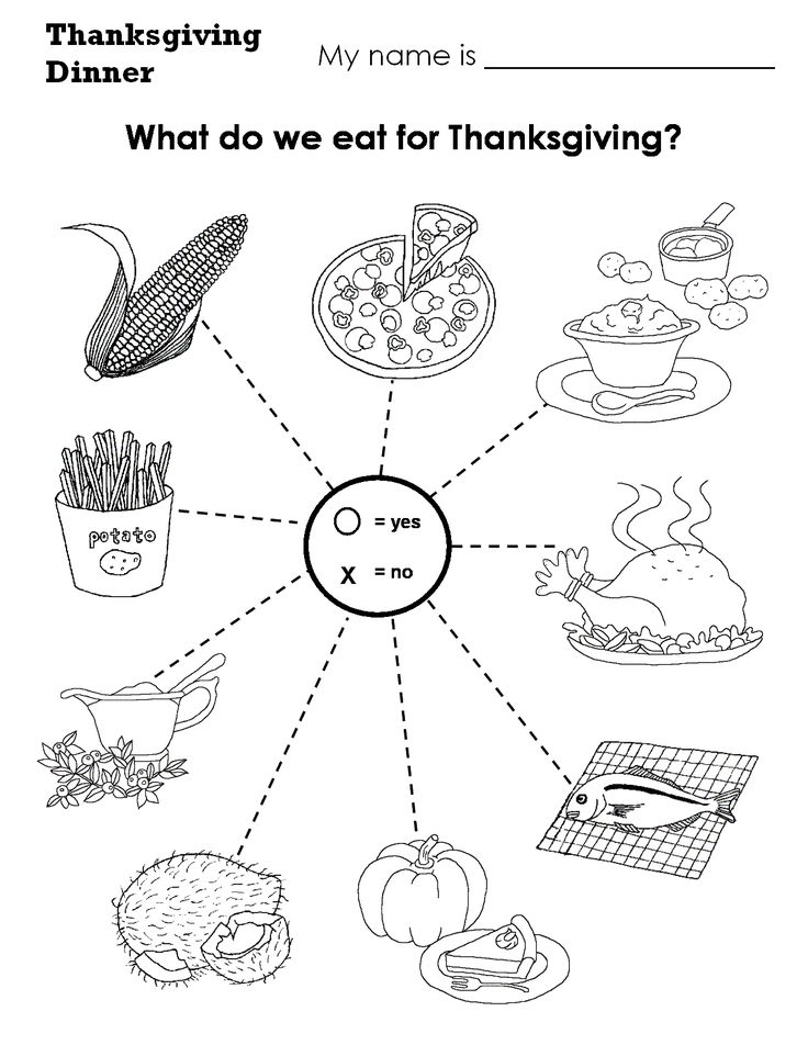 witch worksheets for preschool | Thanksgiving Dinner What do we eat at Thanksgiving?