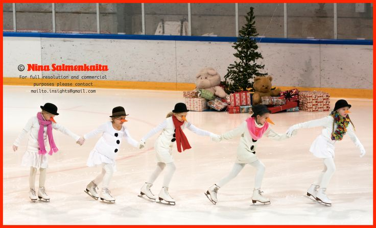 There are lots of figure skating shows around Christmas and April (which is the end of the season). Here are a group of snowmen on ice.