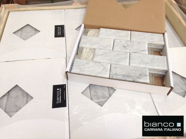 italian marble carrara bianco polished 3x6 beveled marble tile for 895 a square foot attached - Mosaic Tile House 2015