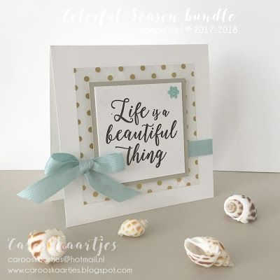 Stampin' Up! Colorful Season Bundle, Color Theory, Seasonal Layers thinlits dies, verpakking, kaart, zelfgemaakt kaartje, verpakking masker, lekker maskertje, relax, round tab punch, starburst punch, 2.1/4 circle punch, Stampin' Up! ponsen, Life is a beautiful thing, strandgevoel, Fancy foil designer acetate, Stampin' Up! stempels, Stampin' Up! stansen, Stampin' Up! ponsen, soft sky ribbon, licht blauw lint, you make me smile, cadeautje, kleinigheidje, creatief, zelfgemaakt, stempelen…