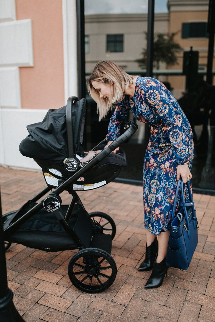 Lulu's blue floral Dress | Fall florals | Henri Bendel Diaper Bag | Fall outfit | Midi Dress | Ankle boots | Uptown with Elly Brown
