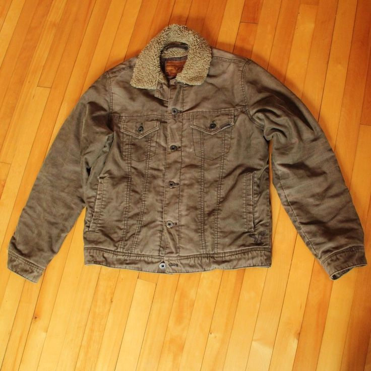 American Eagle Mens Corduroy Jacket Coat Lined Button Down SZ M Rugged Worn #AmericanEagleOutfitters #BasicJacket