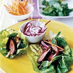 Marinated Steak with Carrots and Herbs in Lettuce