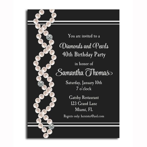 Diamonds and Pearls Invitation Printable  by ThatPartyChick