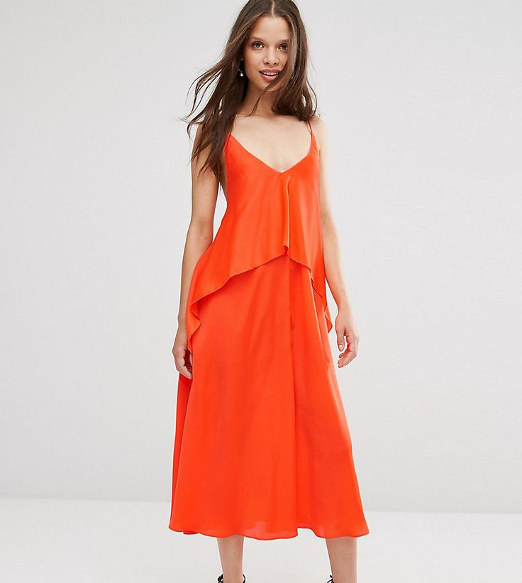 Get this Asos Petite's midi dress now! Click for more details. Worldwide shipping. ASOS PETITE Tiered Crop Cami Midi Dress - Orange: Petite dress by ASOS PETITE, Woven fabric, Plunge V-neckline, Dropped armholes, Tiered asymmetric skirt, Low back, Relaxed fit, Machine wash, 100% Polyester, Our model wears a UK 8/EU 36/US 4, Midi dress length between: 105-110cm. 5�3�/1.60m and under? The London-based design team behind ASOS PETITE take all your fashion faves and cut them down to size. Say ...