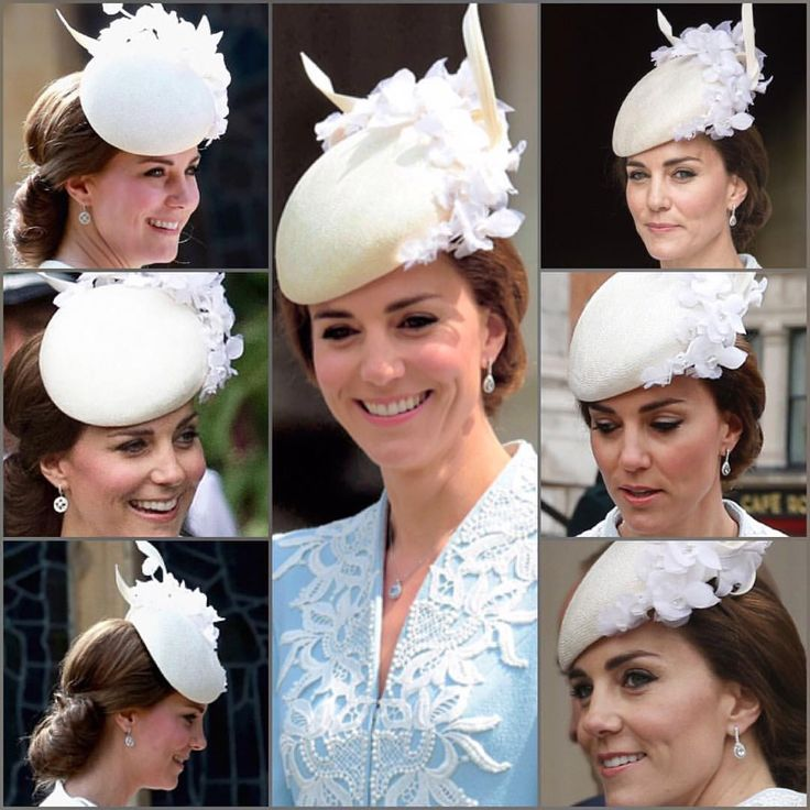 Duchess of Cambridge repeat the Jane Taylor cream hat for church service honoring Queen's 90th birthday, 10 June 2016 (Middle and Right photo) and to Princess Charlotte's Christening July 2016 Edit: Duchess of Cambridge