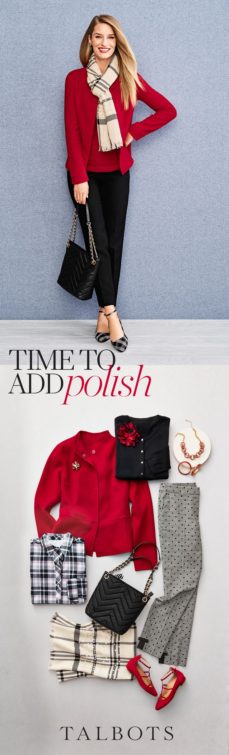Black, white, luxe details, and a punch of color are easy and newsworthy for work events, family gatherings and beyond. Top off the look with some  sparkle and a classic handbag. Shop these looks and more exclusively at Talbots.