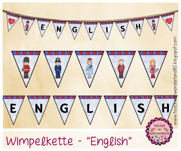 Teacher In Wonderland: Wimpelkette für die Englischecke