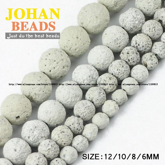 White Lava Natural Stone beads Volcanic rock Top quality Round Loose bead ball 6/8/10/12MM beads for jewelry making bracelet DIY